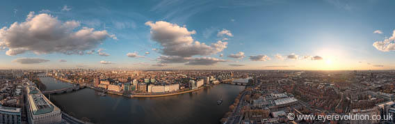Aerial 360 panorama of London taken early afternoon