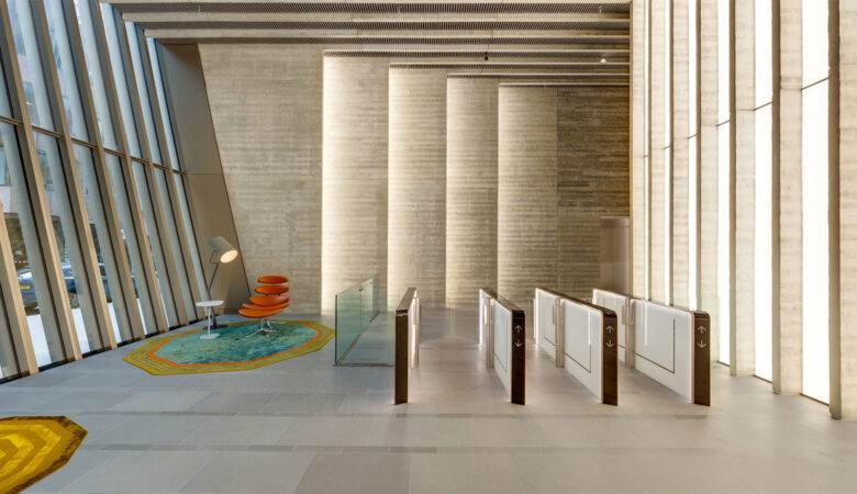 Commercial Property Photography - view of reception area at 70 St Mary's Axe