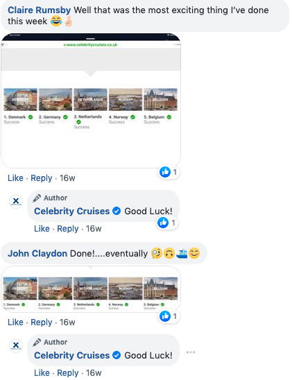 Gigapixel treasure hunt: screenshot of facebook comments on the treasure hunt