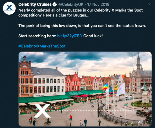Gigapixel treasure hunt: screenshot of Twitter clue from Celebrity Cruises