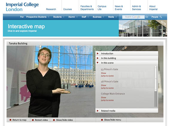 Imperial college map with video guide and virtual tours